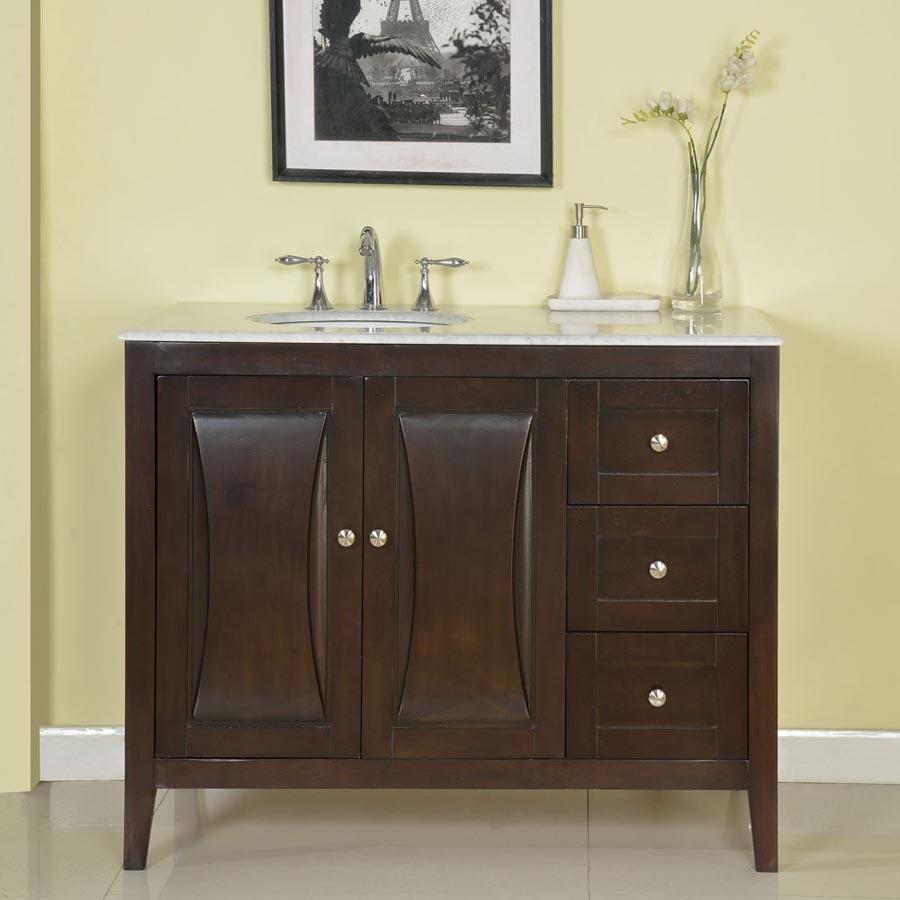 G4063 45 Single Sink Vanity Carrara White Marble Top Cabinet