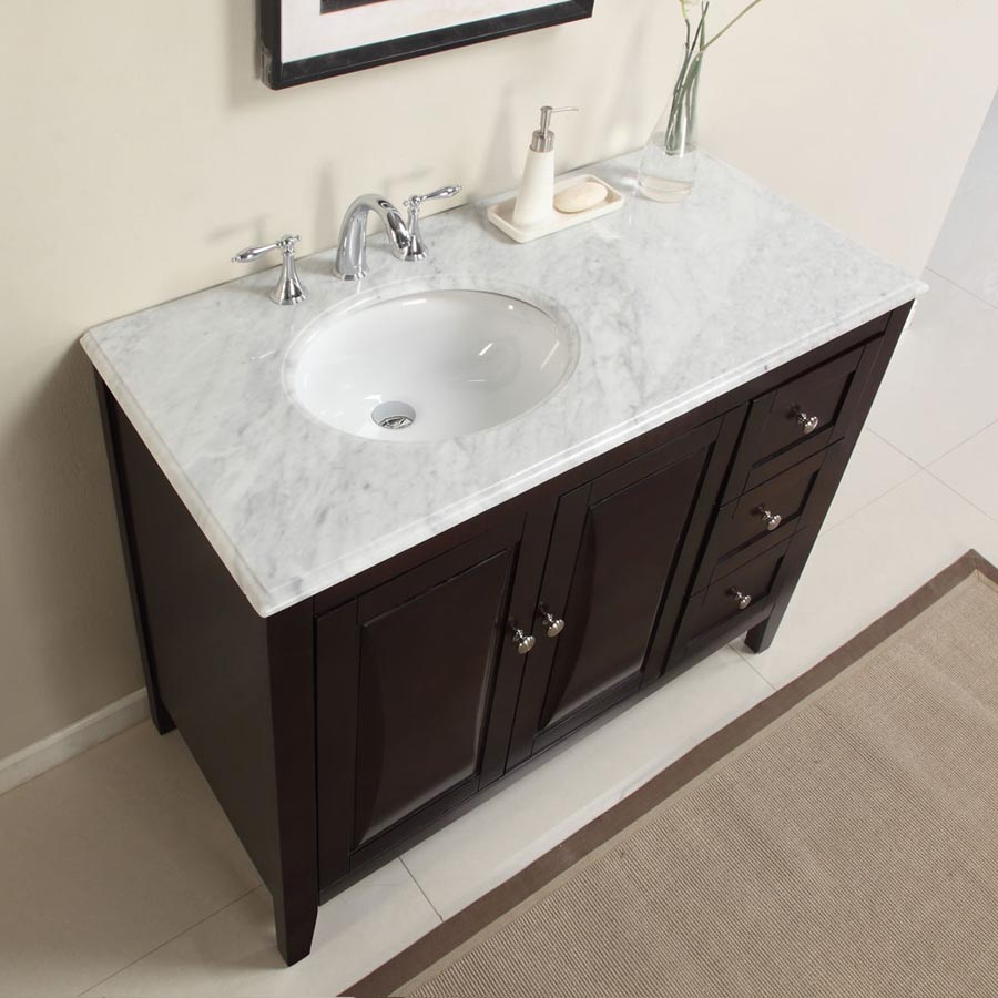 G4063 45 single sink vanity carrara white marble top cabinet for Local bathroom vanities
