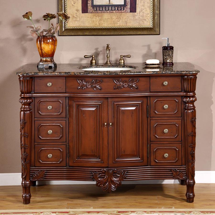 G4038 48 Single Sink Vanity Baltic Brown Granite Top Cabinet