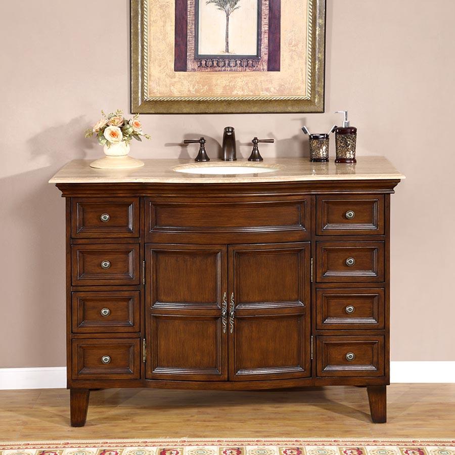 G2573 48 Single Sink Vanity Travertine Top Cabinet