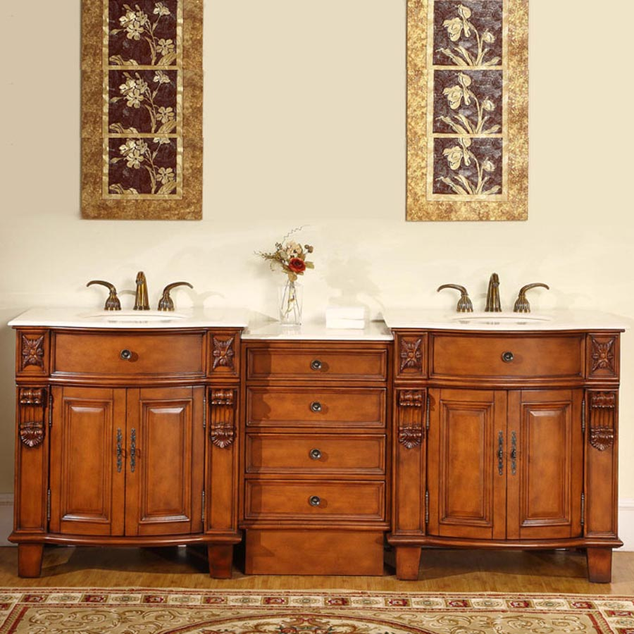 G4001 84 double sink vanity cream marfil marble top cabinet for 84 bathroom vanities and cabinets