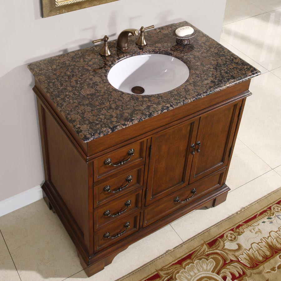 G2922 36 Single Sink Vanity Baltic Brown Granite Top Cabinet