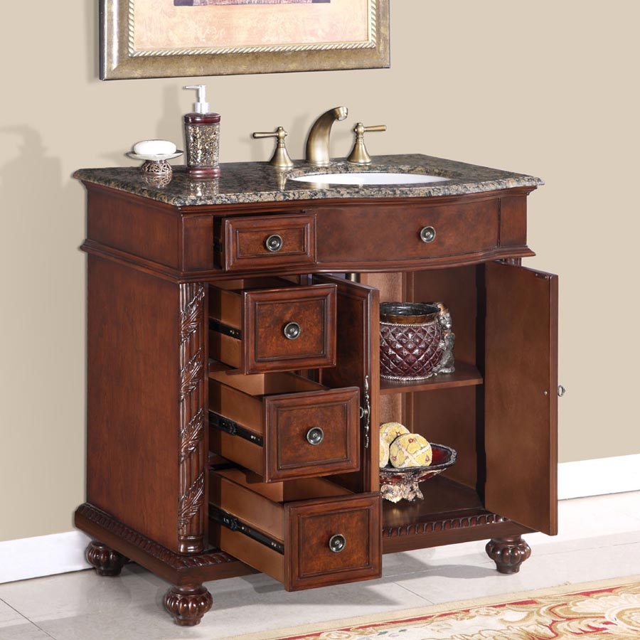 G3121 36 Single Sink Vanity Baltic Brown Granite Top Cabinet