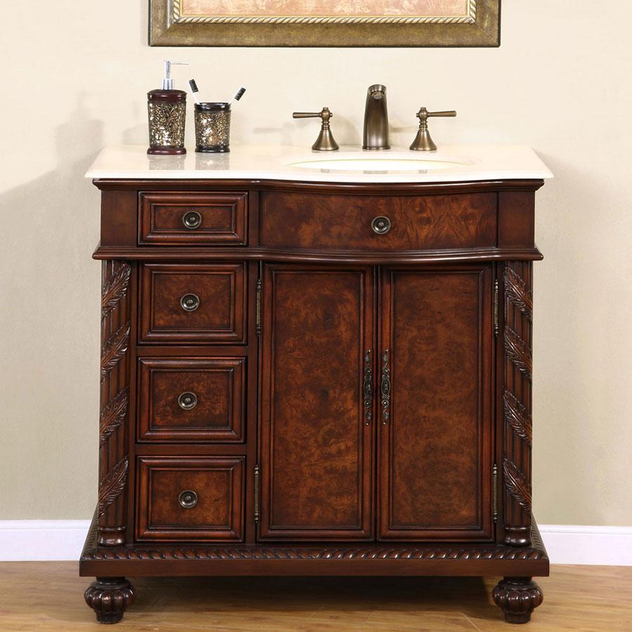 G2872 36 Single Sink Vanity Cream Marfil Marble Top Cabinet