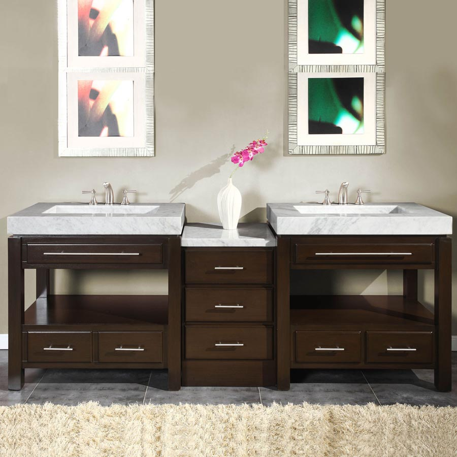 G4006 92 Double Sink Vanity Carrara White Marble Top Cabinet