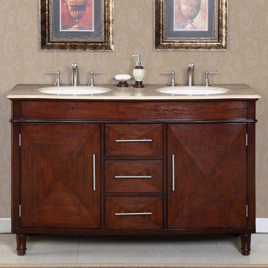G3193 55 Double Sink Vanity Travertine Top Cabinet