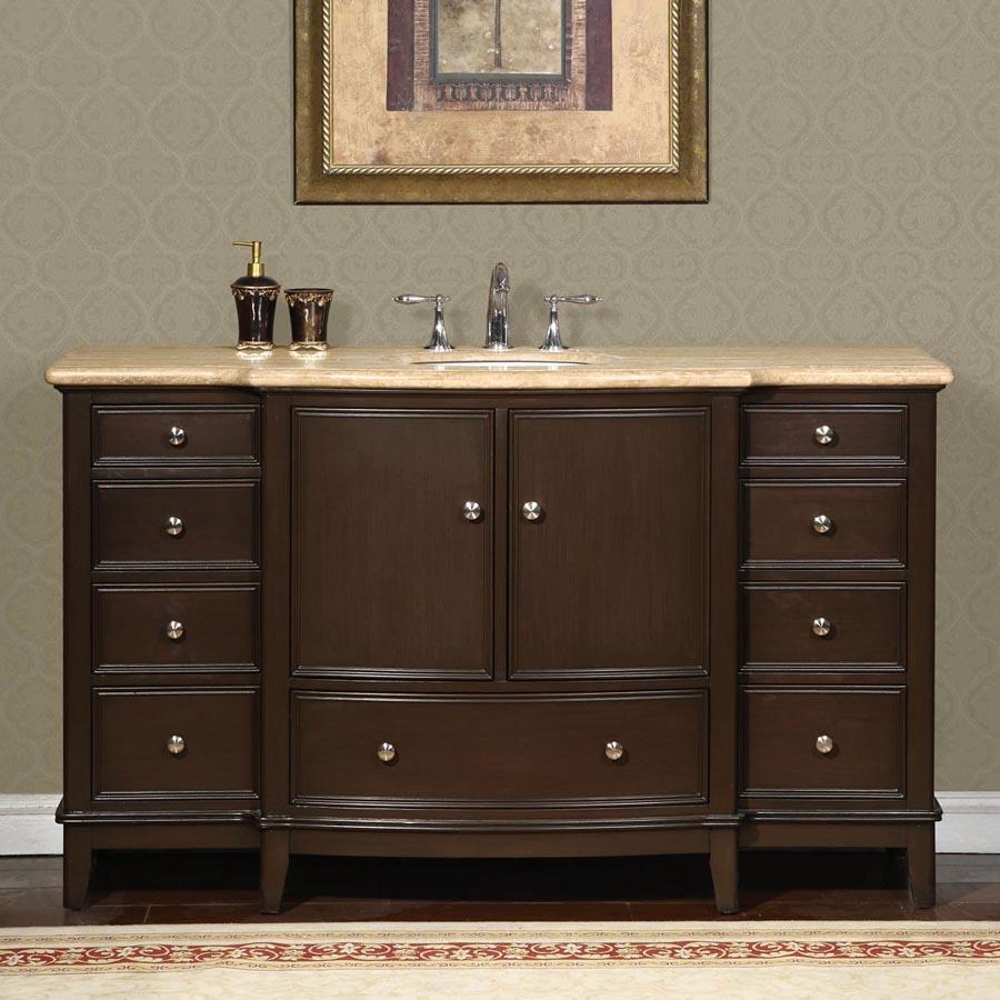 B1378 60 Single Sink Vanity Travertine Top Cabinet