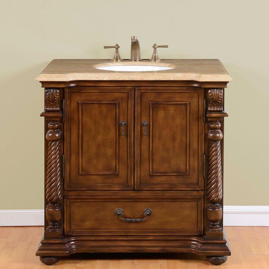 G3144 36 Single Sink Vanity Travertine Top Cabinet