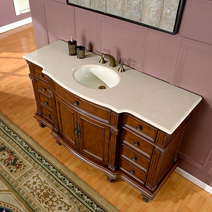 g3104 60 single sink vanity cream marfil marble top cabinet