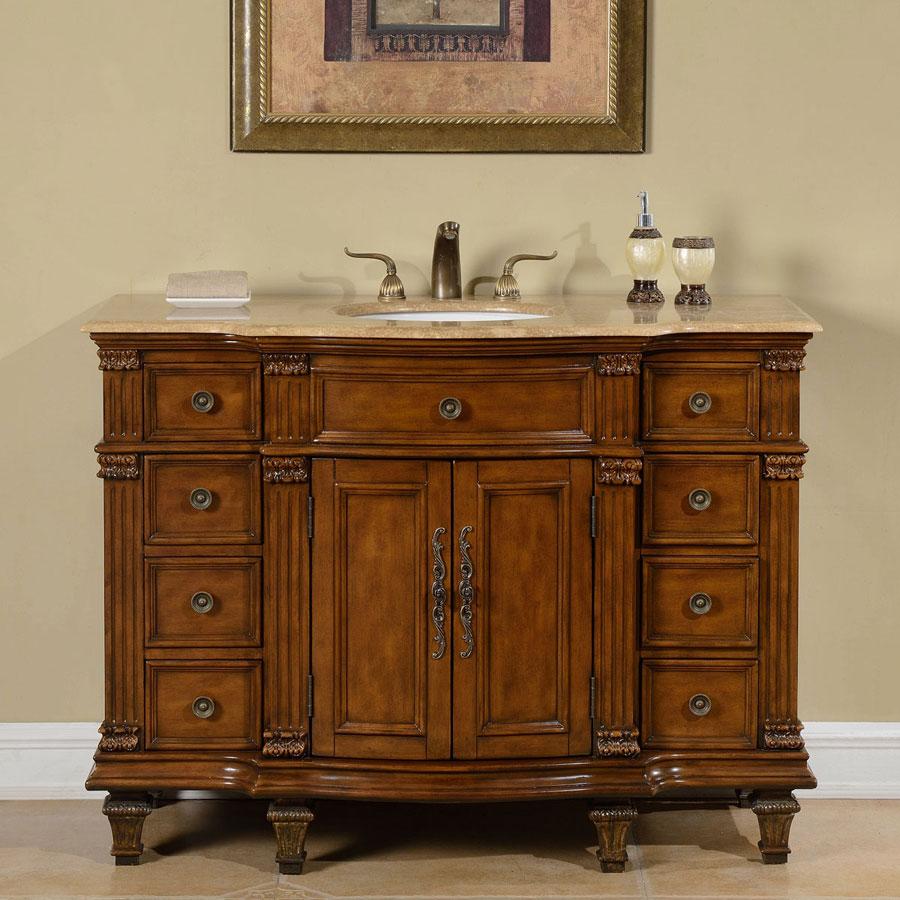 G4043 48 Single Sink Vanity Travertine Top Cabinet