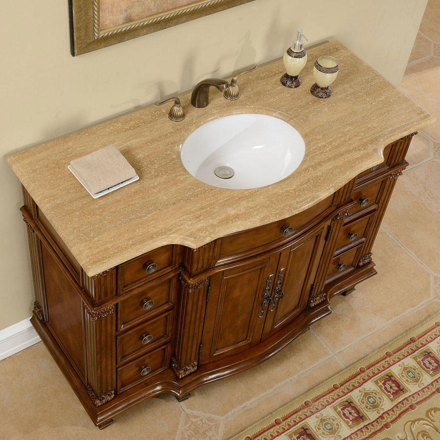 G4043 48 single sink vanity travertine top cabinet for Local bathroom vanities