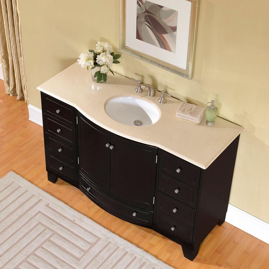 B1277 55 Single Sink Vanity Cream Marfil Marble Top Cabinet