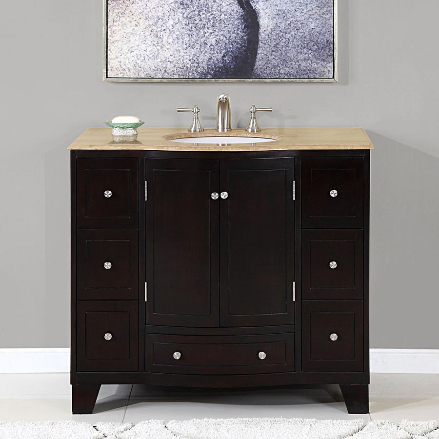 G4047 40 Single Sink Vanity Travertine Top Cabinet