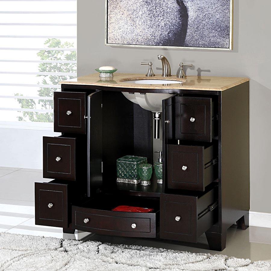 G4047 40 Single Sink Vanity Travertine Top Cabinet