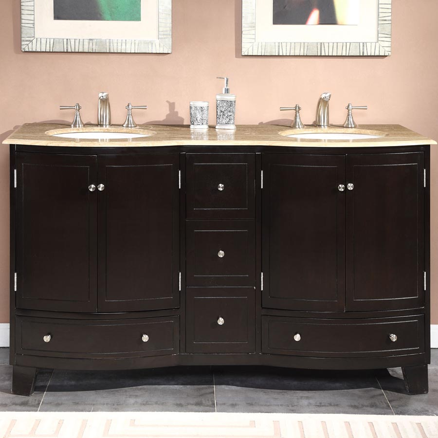 G3333 60 double sink vanity travertine top cabinet for Local bathroom vanities