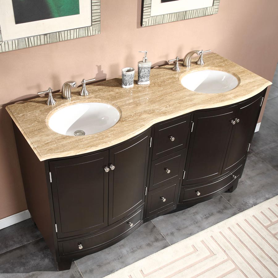 G3333 60 Double Sink Vanity Travertine Top Cabinet