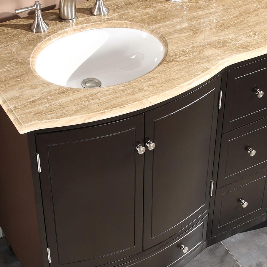 G3333 60 Double Sink Vanity Travertine Top Cabinet