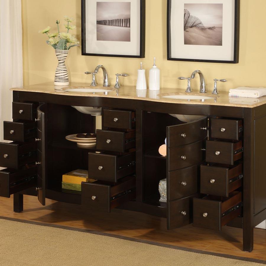 B1011 72 Double Sink Vanity Travertine Top Cabinet