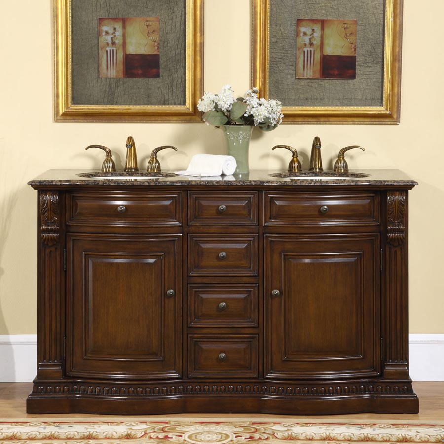 G3078 60 double sink vanity baltic brown granite top cabinet for Local bathroom vanities