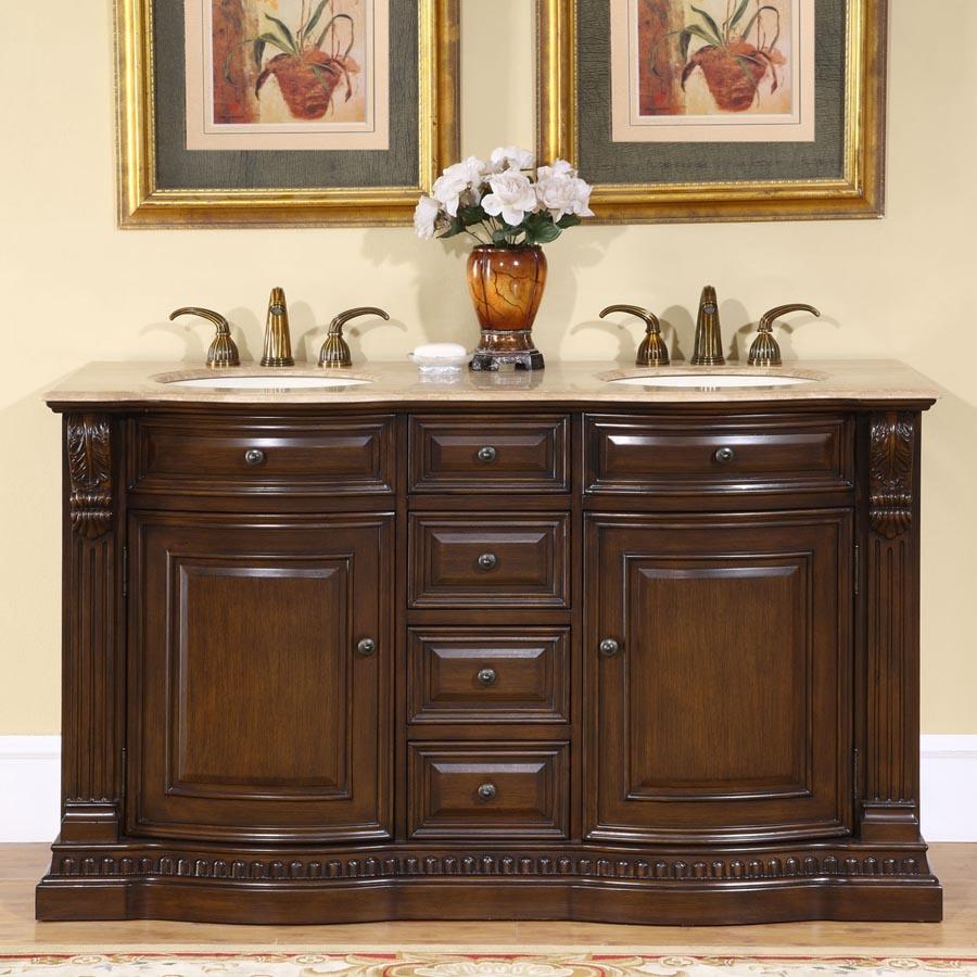 Double Sink Vanity 60 : B977 - 60 Double Sink Vanity Travertine Top Cabinet