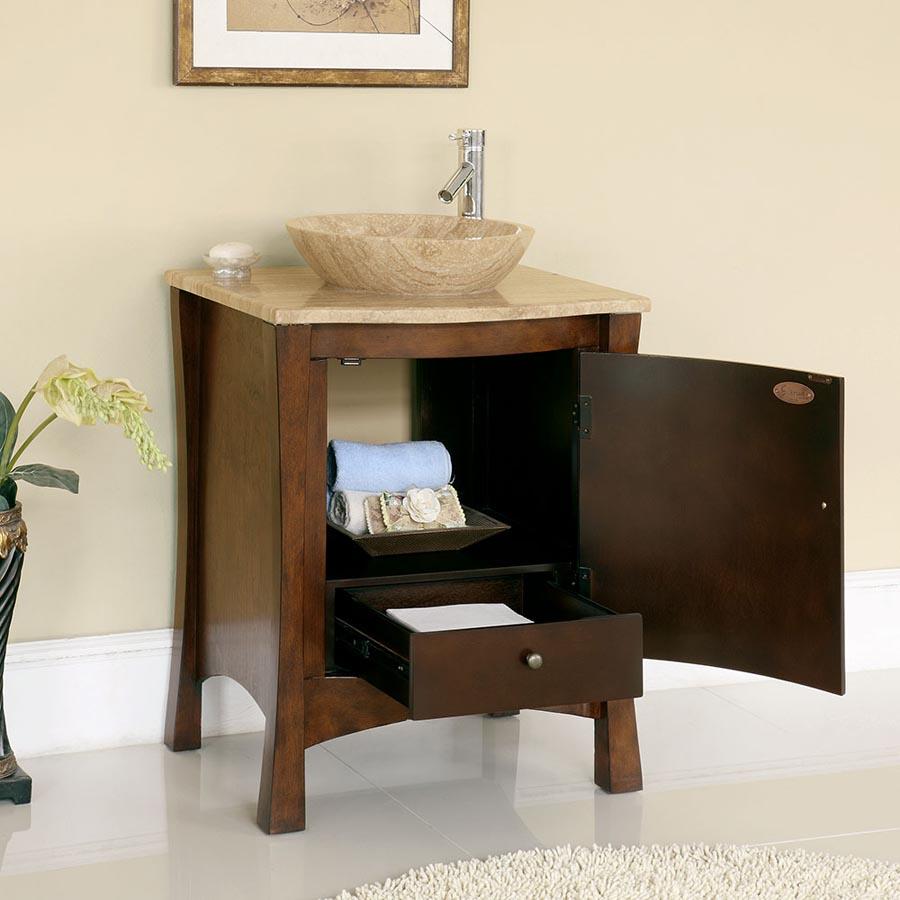 6714 T Tt 26 26 Single Sink Vanity Travertine Top Cabinet