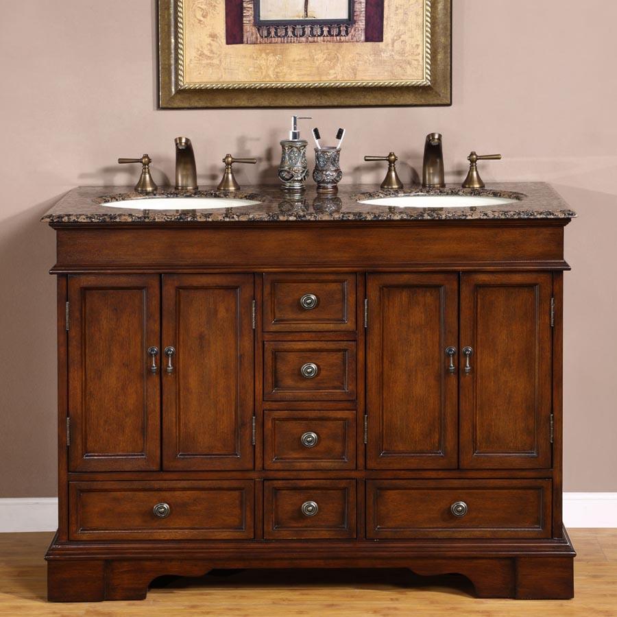 G4037 48 Double Sink Vanity Baltic Brown Granite Top Cabinet