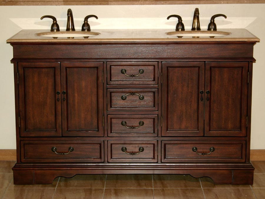 G4100 60 Double Sink Vanity Travertine Top Cabinet