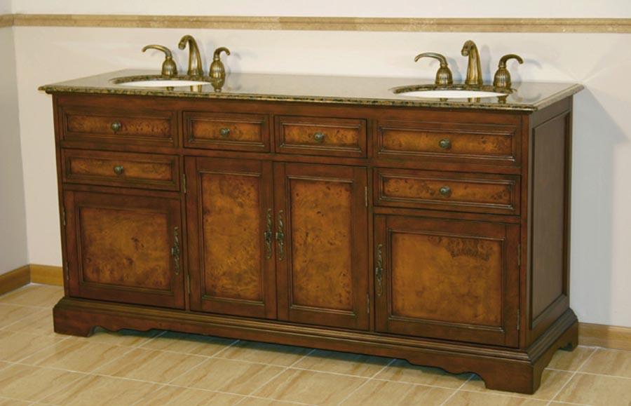 G2504 72 Double Sink Vanity Baltic Brown Granite Top Cabinet