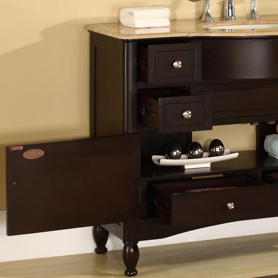 G4031 45 Single Sink Vanity Travertine Top Cabinet