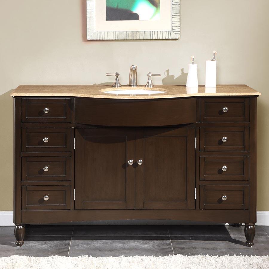 G2742 58 Single Sink Vanity Travertine Top Cabinet