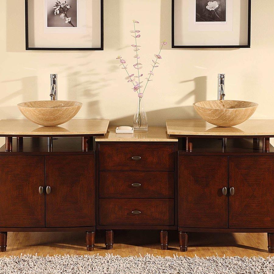 G4009 73 Double Sink Vanity Travertine Top Cabinet