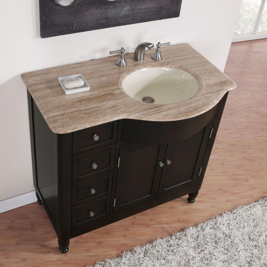 B1279 38 single sink vanity travertine top cabinet for Local bathroom vanities