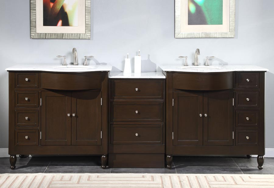 G4029 95 Double Sink Vanity Carrara White Marble Top Cabinet