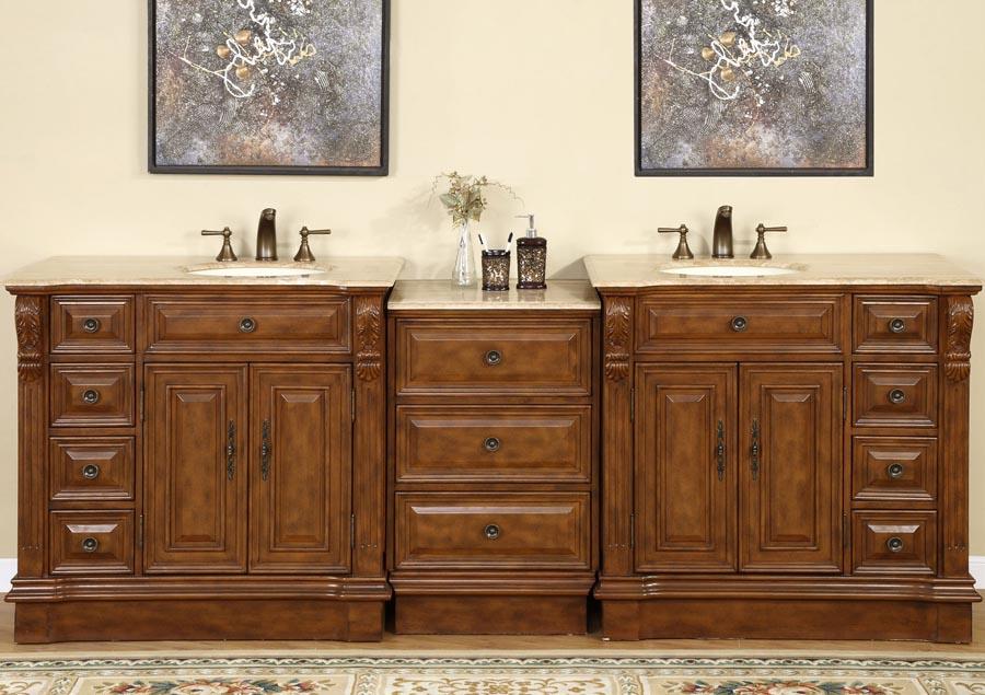 G2947 95 Double Sink Vanity Travertine Top Cabinet