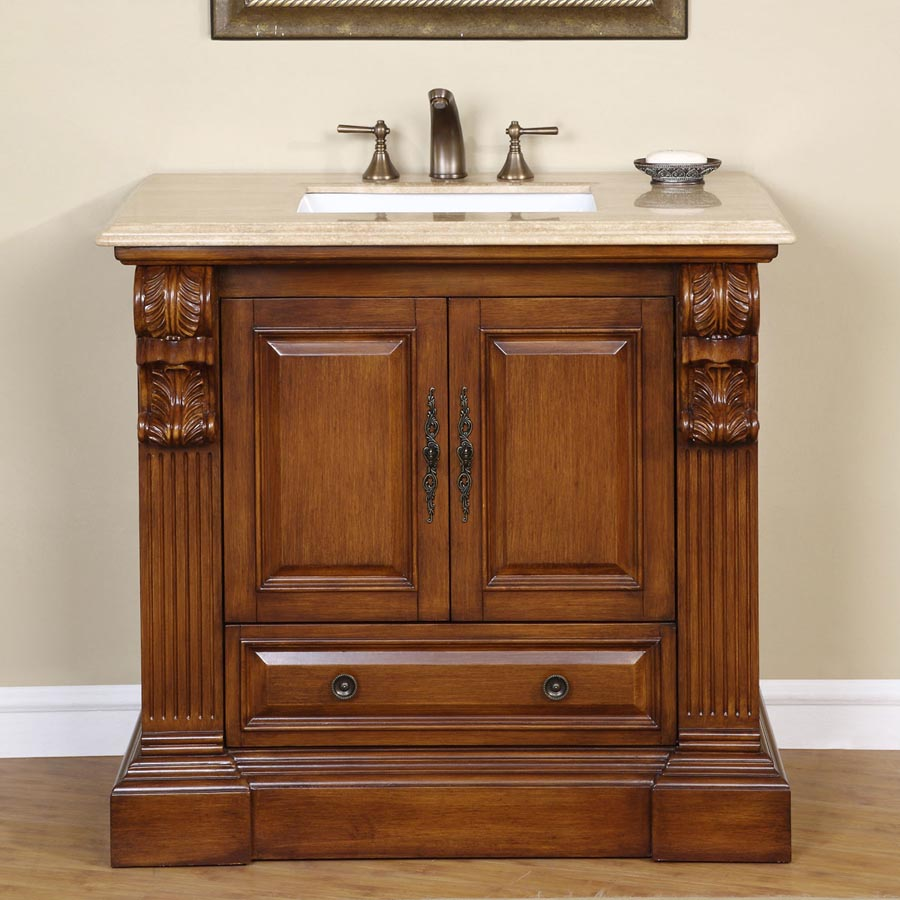 G2835 3875 Single Sink Vanity Travertine Top Cabinet