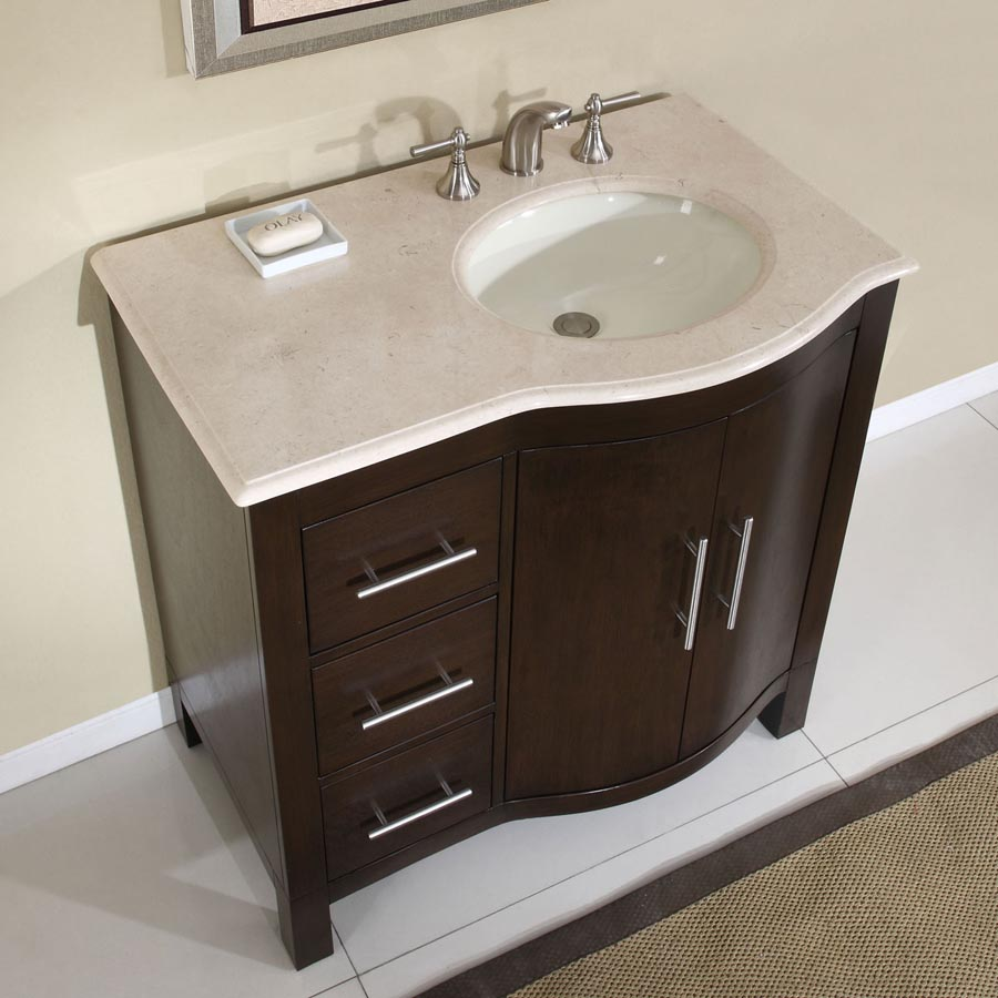 G2661 36 single sink vanity cream marfil marble top cabinet for Local bathroom vanities