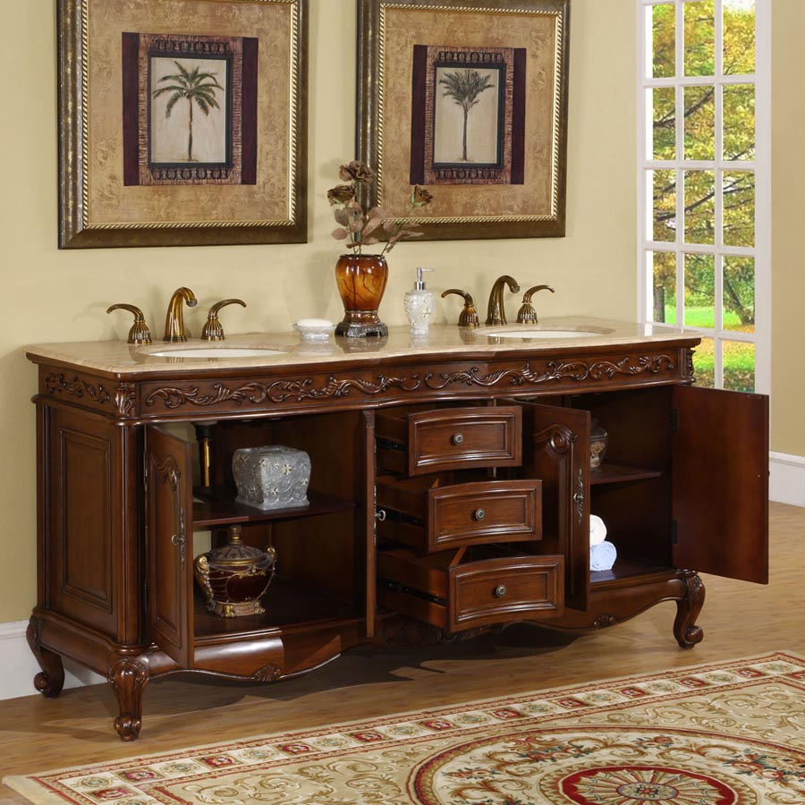 b1052 72 double sink vanity travertine top cabinet
