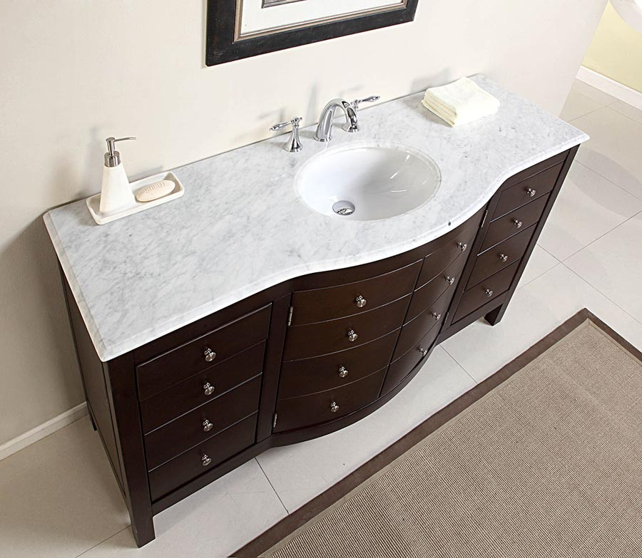 6274 Wm 60 60 Single Sink Vanity Carrara White Marble Top Cabinet