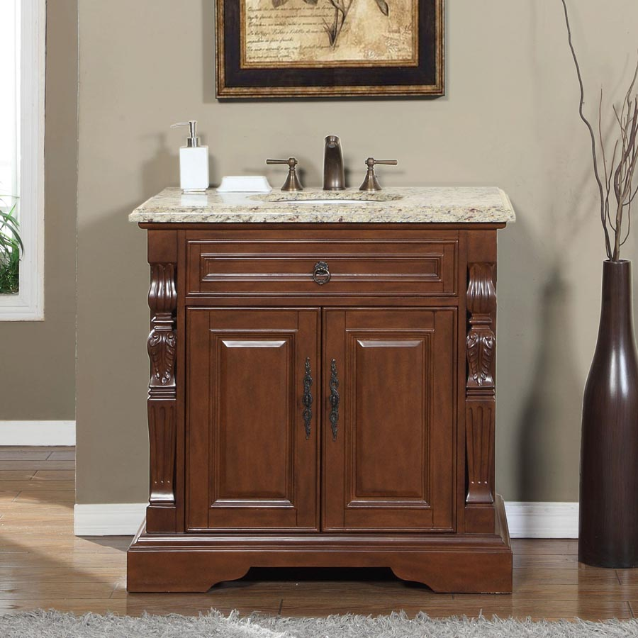 6278vw36c 36 Single Sink Vanity Venetian Gold Granite Top Cabinet