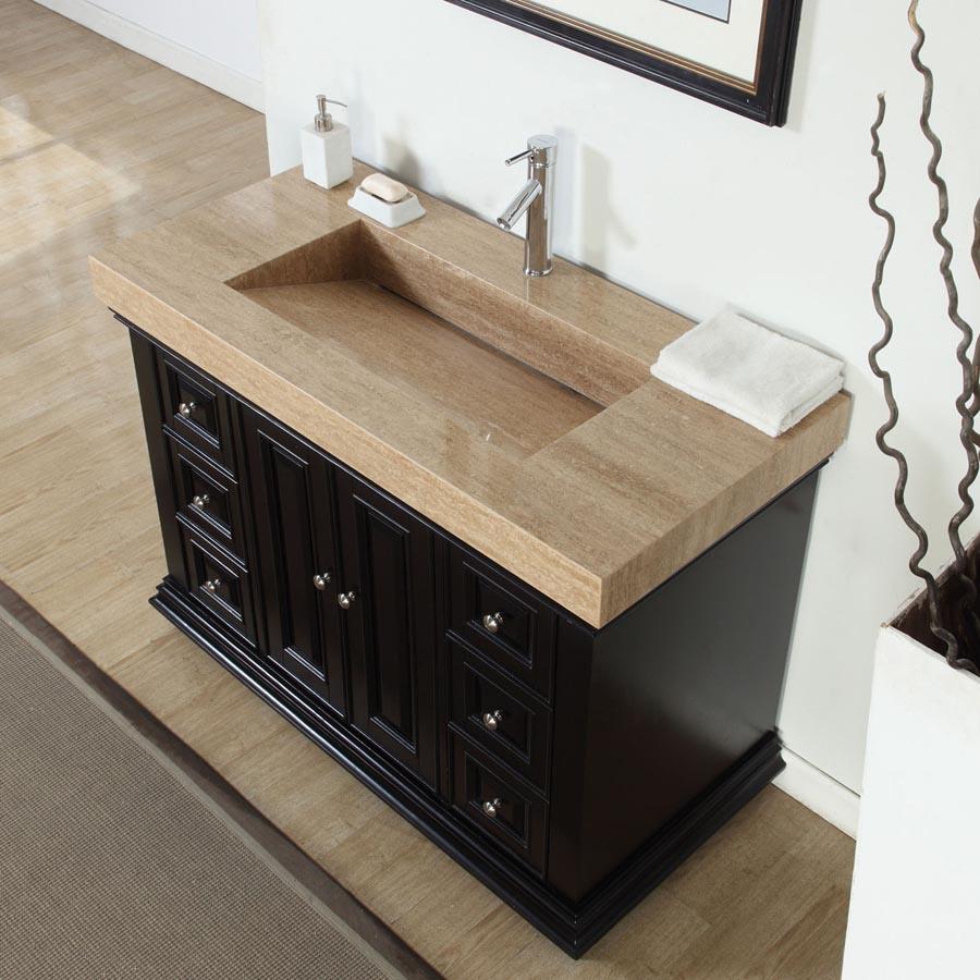 6284TR48C - 48 Single Sink Vanity Travertine Top Cabinet