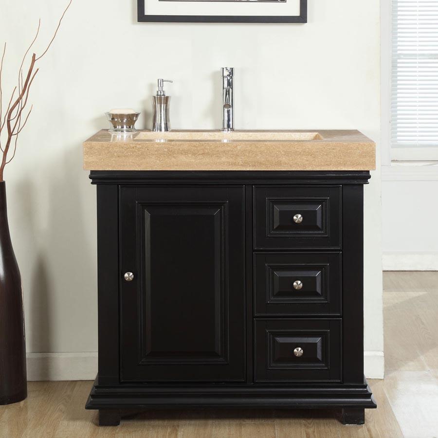 G4025 36 Single Sink Vanity Travertine Top Cabinet