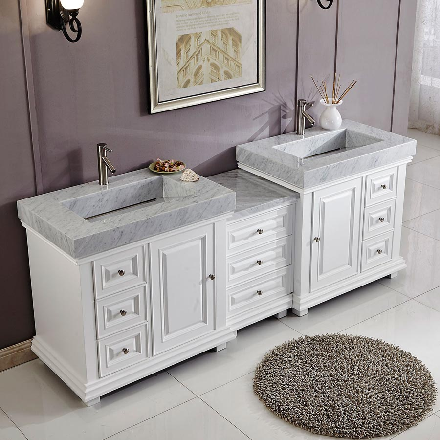 6286wr90d 90 Double Sink Vanity Carrara White Marble Top