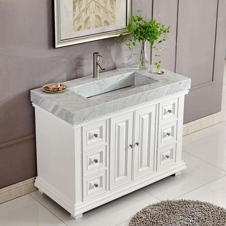 6288wr48c 48 Single Sink Vanity Carrara White Marble Top