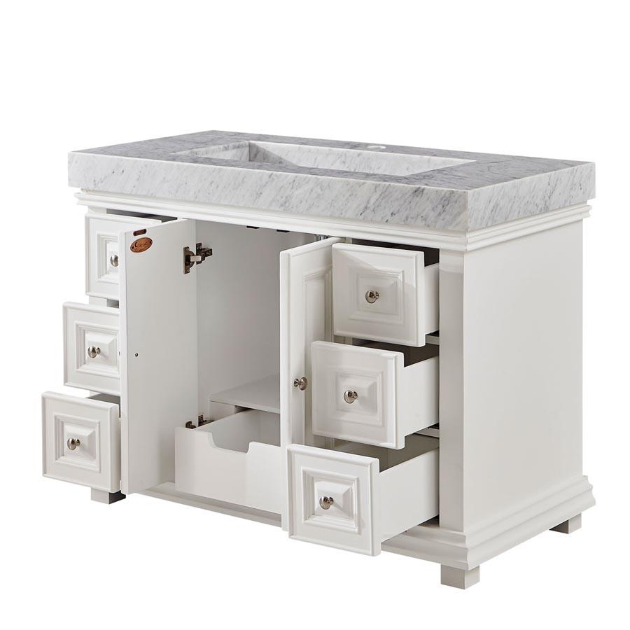 6288wr48c 48 Single Sink Vanity Carrara White Marble Top Cabinet