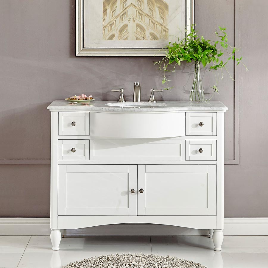 6289ww45c 45 Single Sink Vanity Carrara White Marble Top Cabinet