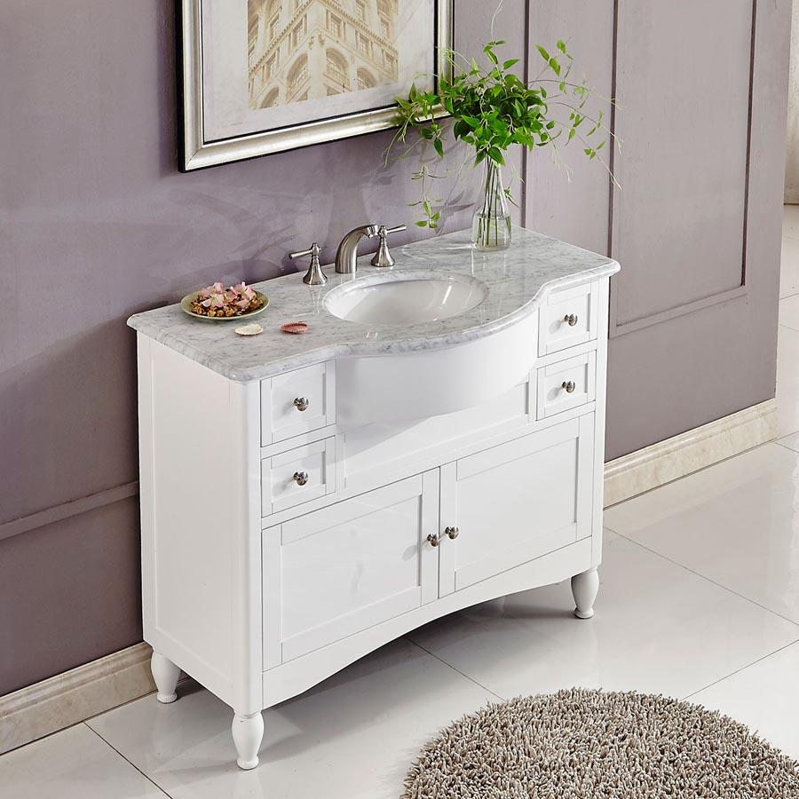 6289ww45c 45 Single Sink Vanity Carrara White Marble Top Cabinet