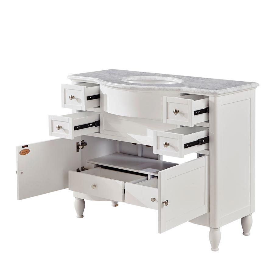 G4103 45 Single Sink Vanity Carrara White Marble Top Cabinet