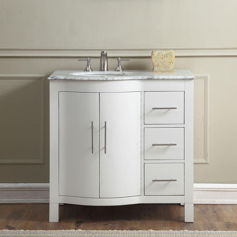 6290ww36l 36 single sink vanity carrara white marble top