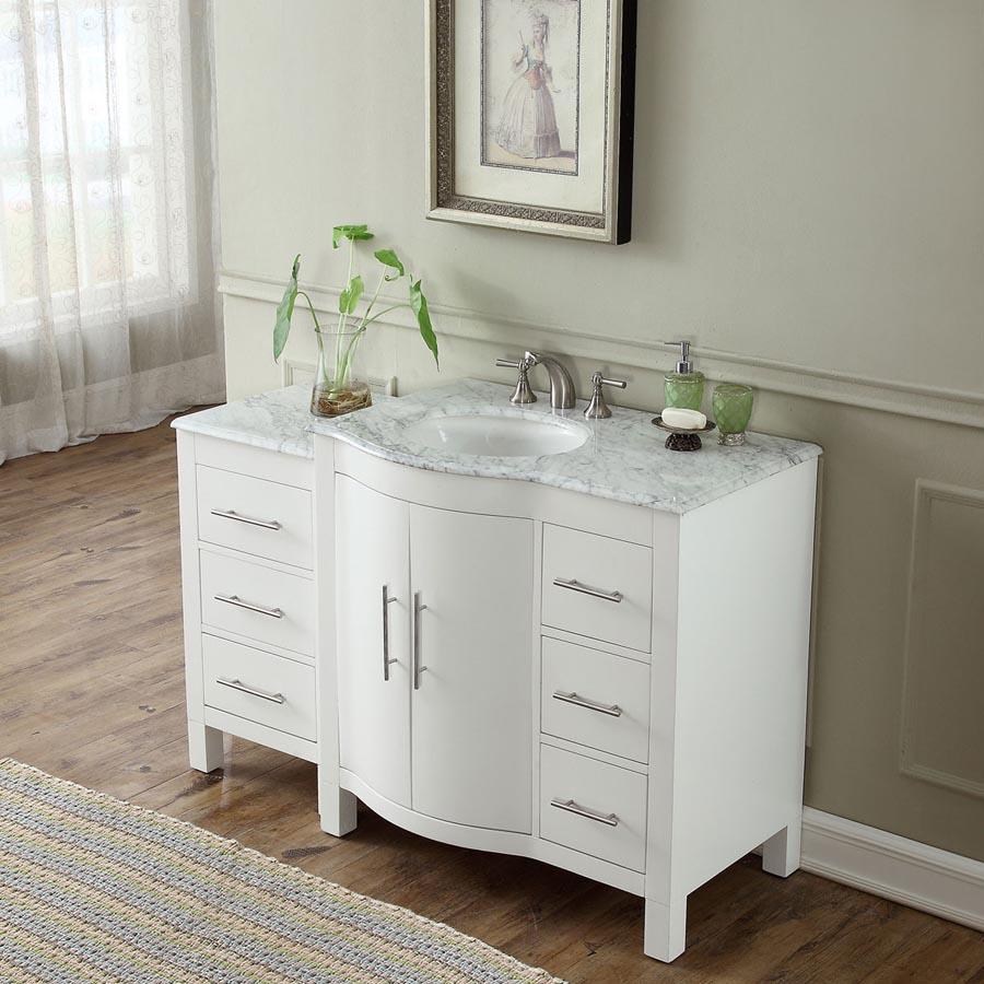 6290ww54l 535 single sink vanity carrara white marble for 54 bathroom vanity cabinet