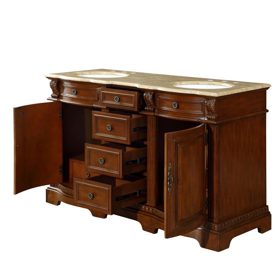 6314tw58d 58 Double Sink Vanity Travertine Top Cabinet